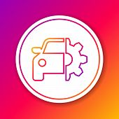 Color Car Service Line Icon Isolated On Color Background. Auto Mechanic Service. Mechanic Service. R poster