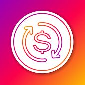 Color Return Of Investment Line Icon Isolated On Color Background. Money Convert Icon. Refund Sign.  poster