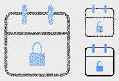 Dot And Mosaic Lock Calendar Page Icons. Vector Icon Of Lock Calendar Page Composed Of Scattered Cir poster