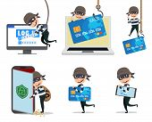Computer Hacker Vector Character Set. Cyber Security Thief Hacking Computer And Mobile Stealing Cred poster