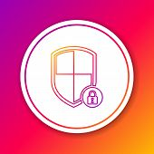 Color Shield Security With Lock Line Icon Isolated On Color Background. Protection, Safety, Password poster