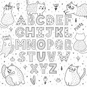 Black And White Alphabet With Funny Cats. Abc Coloring Page. Vector Illustration poster