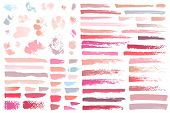 Swatches Makeup Strokes. Set Beauty Cosmetic Nude Brush Stains Smear Make Up Lines Collection Lipsti poster