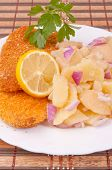stock photo of hake  - Breaded hake fillets and boiled potato salad with red onion - JPG