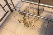 Broken Floor Tiles, Closeup Of Cracked Ceramic Tiles, Brown Tile Cracks. Broken Ceramic Tiles. Creat poster