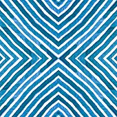 Blue Geometric Watercolor. Curious Seamless Pattern. Hand Drawn Stripes. Brush Texture. Nice Chevron poster