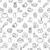 Line Style Fruit And Vegetables Pattern. Doodle Seamless Background. The Modern And Light Pattern Is poster