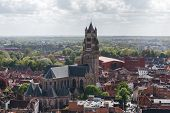 Panoramic View From The Belfort Tower On The Historic Part Of Bruges And The Cathedral Of St. Salvat poster