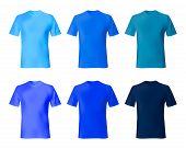 Shirt Design Vector Template. Set Men T Shirt Navy Blue, Indigo Color. Realistic Mockup Shirts Model poster