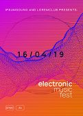 Electronic Event. Commercial Show Magazine Design. Dynamic Gradient Shape And Line. Neon Electronic  poster