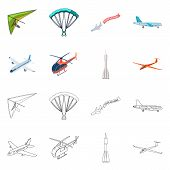 Isolated Object Of Transport And Object Sign. Collection Of Transport And Gliding Stock Symbol For W poster