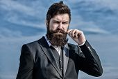 Businessman Against The Sky. Bearded Man. Brutal Caucasian Hipster With Moustache. Future Success. M poster