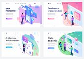 Set Of Isometric Landing Pages, Young Teenagers Working On A Tablet And On A Mobile Phone Screen. Co poster