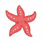 Sea Creature. Sea Dweller.starfish Cartoon Vector Illustration. Red Cute Starfish Illustration For K poster