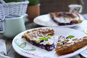 Homemade Cake With Puff Pastry. Summer Homemade Pastries For A Family Breakfast. Photo In A Rustic S poster