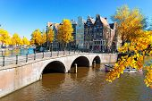 Historical Houses Of Amsterdam Over Canal Ring Landmark In Old European City, Holand Netherlands. Am poster