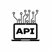 Black Computer Api Interface Icon Isolated. Application Programming Interface Api Technology. Softwa poster