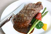 picture of red meat  - grilled steak served with asparagus and broccoli - JPG