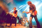 Abstract Musical Background. Playing Guitar And Music Concert Concept. Live Music And Rock Band On S poster