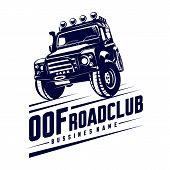 Off-road Car Logo Illustration. Off-road 4X4 Extreme Car Club Logo Templates. Vector Symbols poster