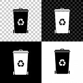 Recycle Bin With Recycle Symbol Icon Isolated On Black, White And Transparent Background. Trash Can  poster