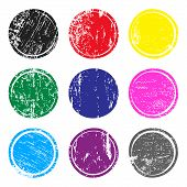 Set Of Multicolored Post Stamps With Grunge Texture. Blank Circle Stamp Template For Logo, Badge, In poster