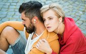 Enjoying Music. Youth Fashion. Feeling Free And Stylish. Man And Woman Modern Clothes For Youth Rela poster