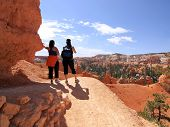 Wandelaars In Bryce Canyon