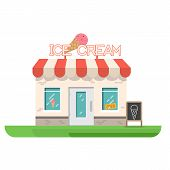 Ice Cream Store Building. Store Building Near Park And City. Restaurant With Ice Cream. Flat Vector  poster