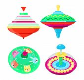 Top Toy Vector Kids Whirligig Humming Spinner Colorful Spinning Playing Game With Peg-top Character  poster