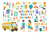 Welcome Back To School, Cute Doodle Set With Lettering. Funny Pupils, Cartoon Boy And Girl, School B poster