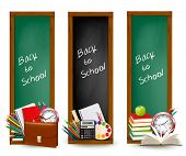 Back to school. Three banners with school supplies. Vector.