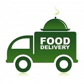 image of food truck  - Food delivery van with platter - JPG