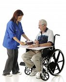 stock photo of meals wheels  - A pretty young volunteer passing a covered meal to a senior man in a wheelchair - JPG