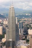 stock photo of petronas twin towers  - the petronas twin towers as viewed from kl tower - JPG