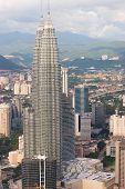 stock photo of petronas twin towers  - the petronas twin towers as viewed from kl tower - JPG