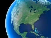 image of land-mass  - North America and parts of Central America as seen from space - JPG