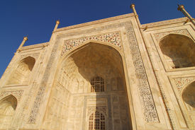 foto of mumtaj  - Taj Mahal at Agra India made of white marble by emperor Shah Jahan in memory of wife Mumtaj and is a UNESCO World Heritage Site - JPG