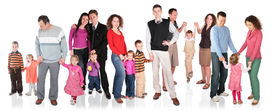 pic of children group  - many family with children group isolated on white - JPG