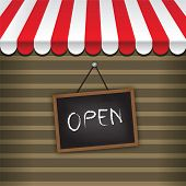 picture of awning  - storefront with awning and hanging open sign vector - JPG