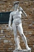 Brilliant sculpture of David by Michelangelo on the Piazza della Signoria in Florence, Italy