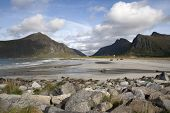 stock photo of lofoten  - Flakstad Beach on the Lofoten Islands Norway - JPG