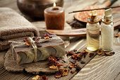 image of sea salt  - Oriental spa set with sea salt and soap - JPG