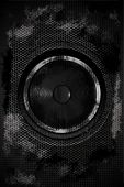stock photo of speaker  - Grungy Dark Dirty Bass Speaker - JPG