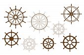 picture of ship steering wheel  - Steering wheels set for heraldry or marine design - JPG