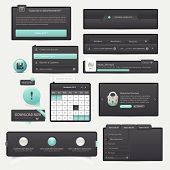 stock photo of field mouse  - Website template design menu navigation elements with icons - JPG