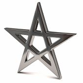foto of pentagram  - 3d illustration of silver pentagram isolated on white background - JPG