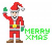 pic of arcade  - Retro arcade video game style pixel art Christmas Santa with Merry Xmas message - JPG