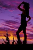 foto of cowgirl  - A silhouette of a cowgirl with a hat and boots.