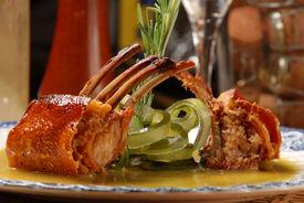 foto of gourmet food  - Image pork chops on a bed of vegetables - JPG